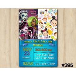 Twin Monster High and Tsum Tsum Invitation