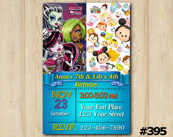 Twin Monster High and Tsum Tsum Invitation | Personalized Digital Card