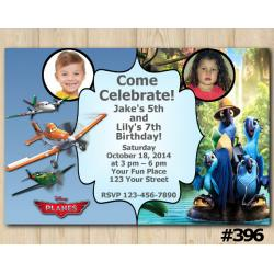 Twin Disney Planes and Rio Invitation with Photo