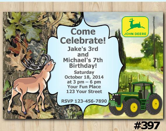 Twin Deer and John Deere Tractor Invitation | Personalized Digital Card