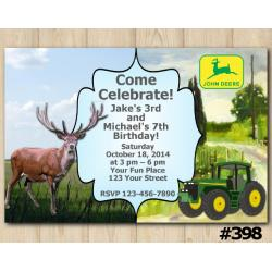 Twin Deer and John Deere Tractor Invitation