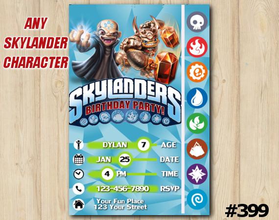 Skylanders Trap Team Game Card Invitation | Kaos, Wallop | Personalized Digital Card
