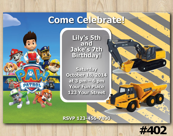 Twin Paw Patrol and Construction Invitation | Personalized Digital Card
