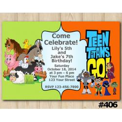 Twin Farm Animals and Teen Titans Go Invitation