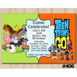 Twin Farm Animals and Teen Titans Go Invitation