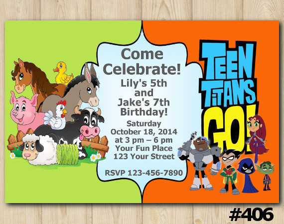 Twin Farm Animals and Teen Titans Go Invitation | Personalized Digital Card