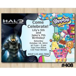 Twin Halo Master Chief and Shopkins Invitation