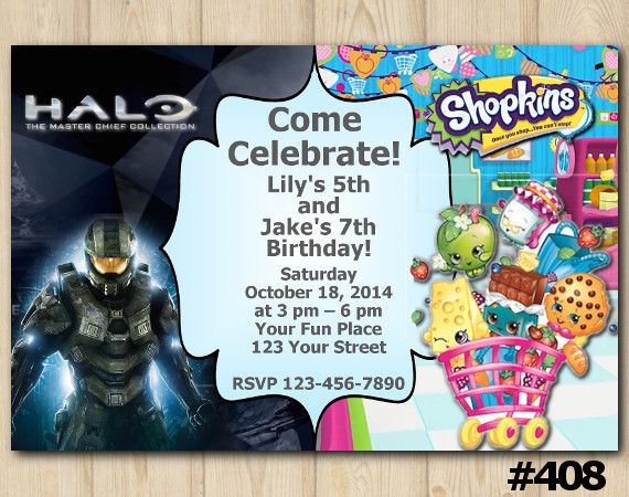 Twin Halo Master Chief and Shopkins Invitation | Personalized Digital Card