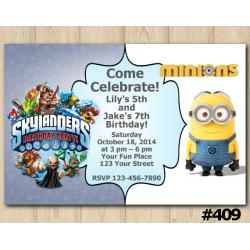 Twin Skylanders and Minion Invitation
