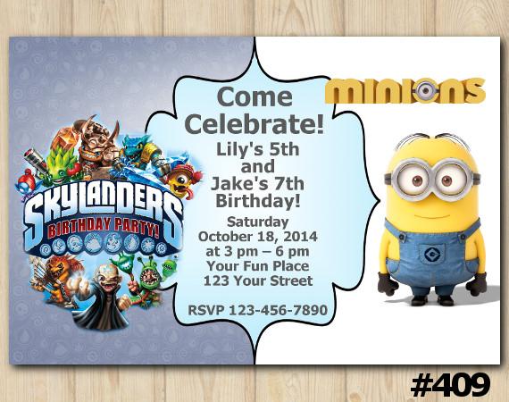 Twin Skylanders and Minion Invitation | Personalized Digital Card