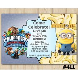 Twin Skylanders and Minion Invitation