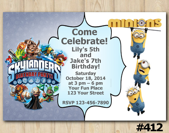 Twin Skylanders and Minion Invitation | Personalized Digital Card