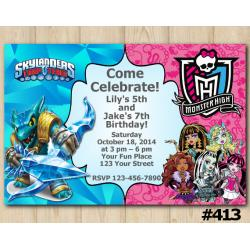 Twin Skylanders and Monster High Invitation | Snapshot