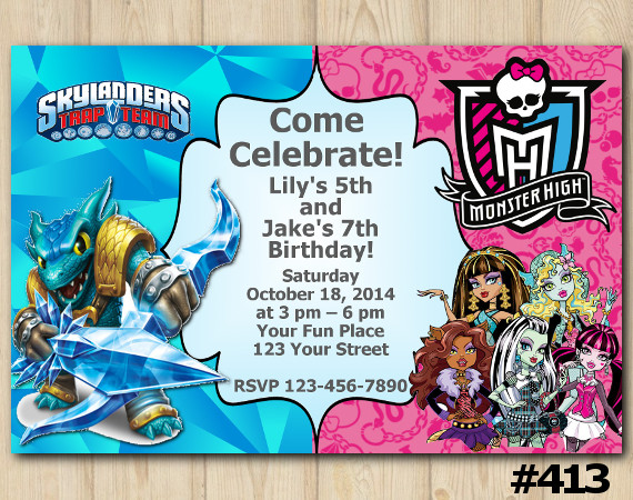 Twin Skylanders and Monster High Invitation | Snapshot | Personalized Digital Card