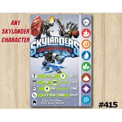 Skylanders Trap Team Game Card Invitation | Wildfire, FoodFight, SnapShot