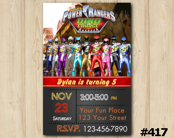 Power Ranger Dino Charge Invitation | Personalized Digital Card