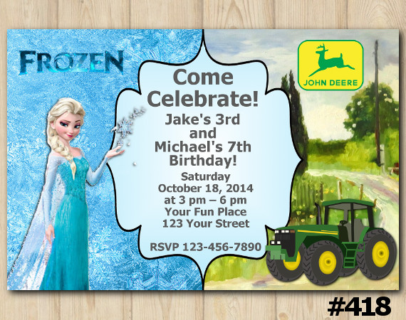 Twin Frozen and John Deere Tractor Invitation | Personalized Digital Card