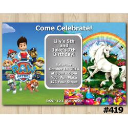 Twin Paw Patrol and Unicorn Invitation