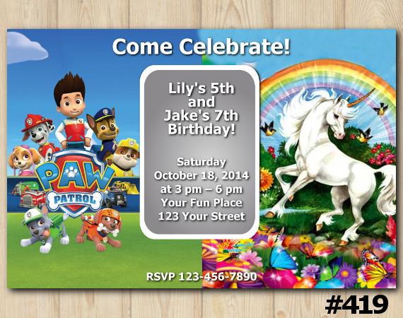 Twin Paw Patrol and Unicorn Invitation   Personalized Digital Card