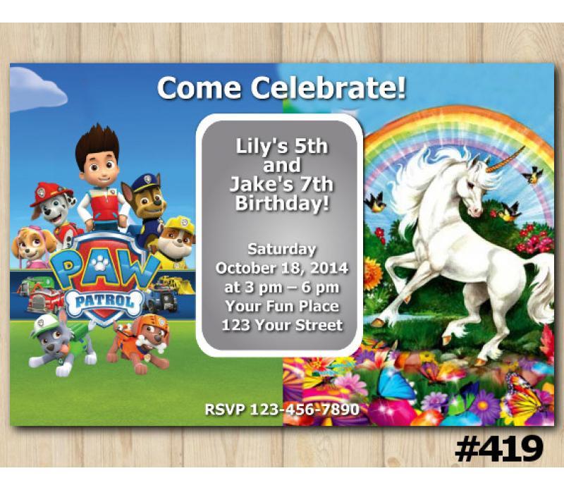 twin paw patrol and unicorn birthday invitation joint