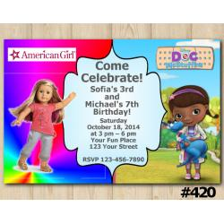 Twin American Girl and Doc McStuffins Invitation