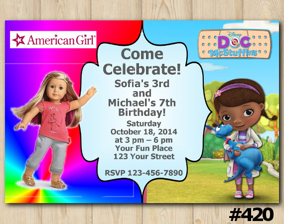 Twin American Girl and Doc McStuffins Invitation | Personalized Digital Card