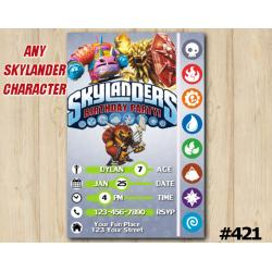 Skylanders Trap Team Game Card Invitation | Wolfgang, PainYatta, Wildfire