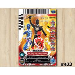 Power Rangers Game Card Invitation