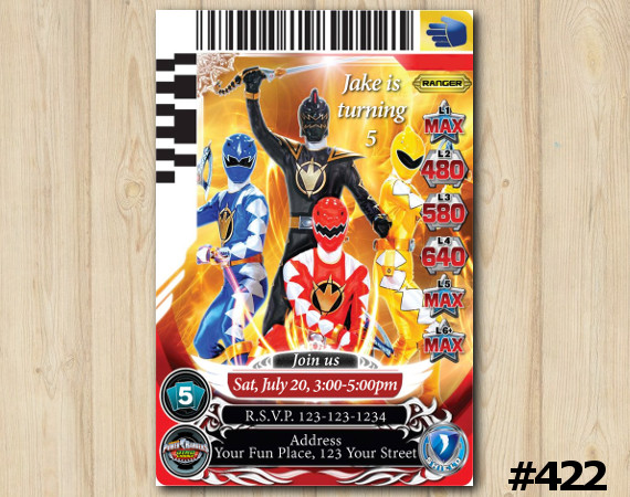 Power Rangers Game Card Invitation   Personalized Digital Card