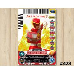 Power Rangers Game Card Invitation