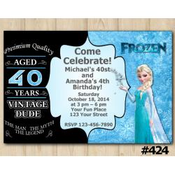 Twin Adult Vintage and Frozen Invitation