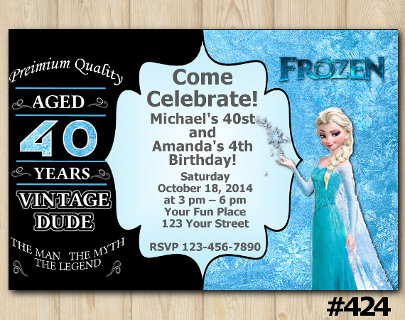 Twin Adult Vintage and Frozen Invitation | Personalized Digital Card