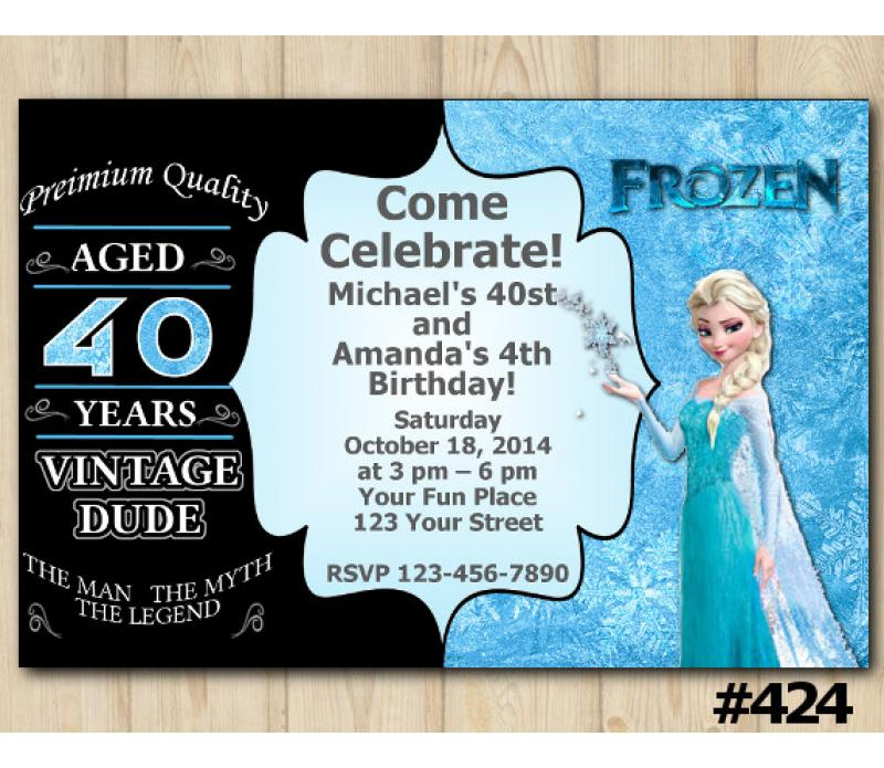 Twin Adult And Frozen Birthday Invitation Joint Twin Invitation