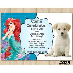 Twin Puppy and Ariel Invitation