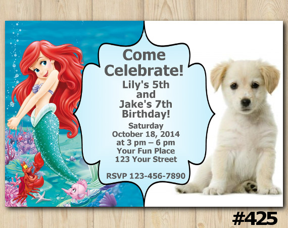 Twin Puppy and Ariel Invitation   Personalized Digital Card