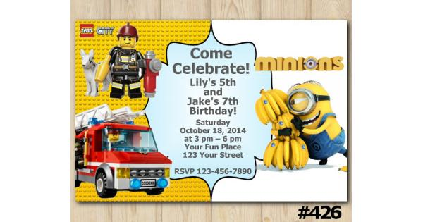 Twin Lego City and Minions Banana Birthday Invitation Joint Twin