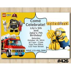 Twin Lego City and Minion Invitation