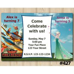 Twin Disney Planes and Frozen Fever Invitation