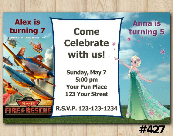Twin Disney Planes and Frozen Fever Invitation | Personalized Digital Card