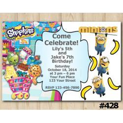 Twin Shopkins and Minions banana Invitation