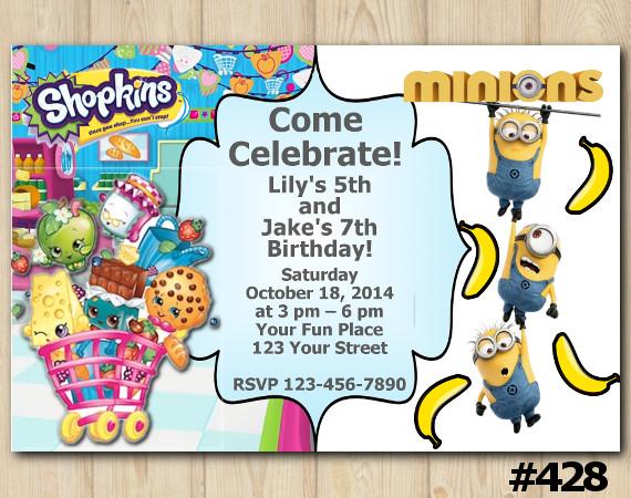 Twin Shopkins and Minions banana Invitation | Personalized Digital Card