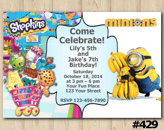 Twin Shopkins and Minion Invitation | Personalized Digital Card