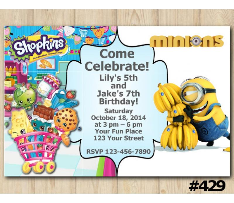 Twin Shopkins And Minion Invitation
