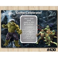 Twin Hulk and TMNT Invitation