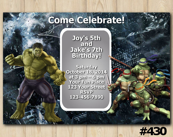 Twin Hulk and TMNT Invitation | Personalized Digital Card