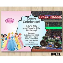 Twin Disney Princesses and Grave Digger Invitation