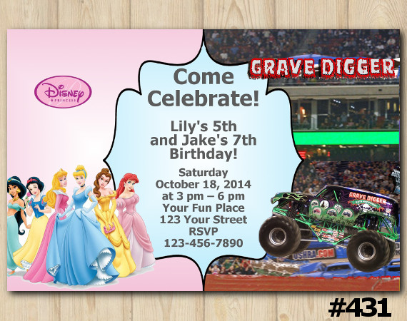 Twin Disney Princesses and Grave Digger Invitation | Personalized Digital Card