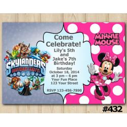 Twin Skylanders Minnie Mouse Invitation