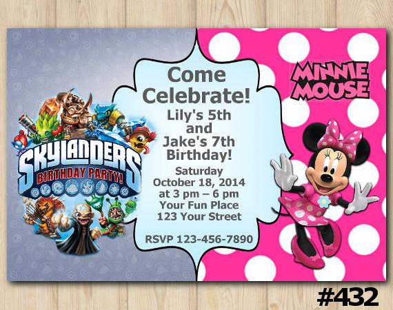 Twin Skylanders Minnie Mouse Invitation | Personalized Digital Card