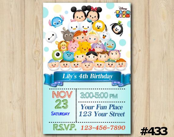 Tsum Tsum Invitation   Personalized Digital Card